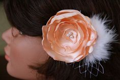 Peach Wedding Bridal Hair Flower with Feather  by LadyLyBoutique