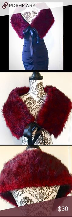 """NEW ITEMRed & Black Faux Fur Wrap Purchased this wrap NEW for my Valentine's Day wedding, but went with another wrap instead. This has never been used, only properly stored away.   DETAILS: Wrap dimensions: 42"""" L x 7-1/2"""" W Satin Ribbon: 24"""" L Accessories Scarves & Wraps"""