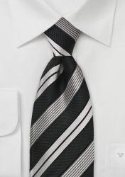 Stilsicher gestreifte XXL-Krawatte in Pitch Black und Silbergrau günstig kaufen