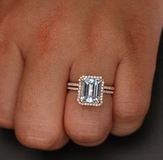 14k Rose Gold 10x8 Aquamarine Emerald Cut by Twoperidotbirds, $1695.00