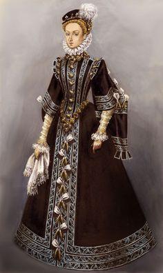 monarchypalace: Anna of Austria Fanart - Deviantart Oh *. Italian Renaissance Dress, Renaissance Time, Renaissance Jewelry, Renaissance Costume, Medieval Dress, Elizabethan Costume, Elizabethan Era, Historical Costume, Historical Clothing