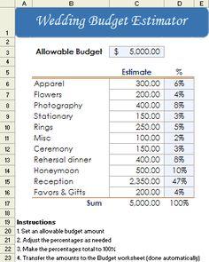 Printable Wedding Budget Worksheet Template Accessoires pour réussir votre mariage sur http://yesidomariage.com