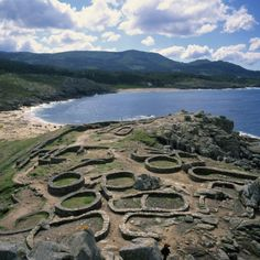 Spain / Galicia / Celtic civilization / Celtic Ruins Near Porto Do Son, West Coast Castro De Barona, Galicia, Spain