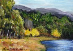 Autumn Begins ACEO Fall Trees River Original Landscape ACEO acrylic  painting