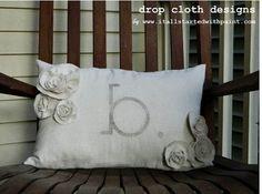 Monogrammed Lumbar Rosette Pillow by dropclothdesignco on Etsy, $31.00