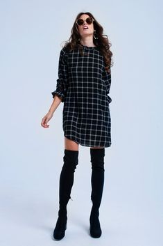 Black pure cotton mini dress with checked pattern. It has a round neck, a round hem, long sleeves with elastic cuffs and an open back detail with button closure Maxi Dress With Slit, Midi Shirt Dress, Halter Maxi Dresses, Floral Maxi Dress, Striped Short Dresses, Beige Dresses, Casual Dresses, Fashion Dresses, Check Dress