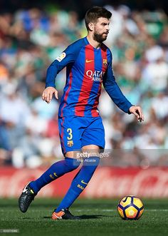 Gerard Pique of FC Barcelona in action during La Liga match between Real Betis Balompie and FC Barcelona at Benito Villamarin Stadium on January 29, 2017 in Seville, Spain.