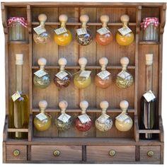 étagère à épices 15 bulles + huiles teinte bois