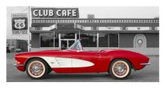 1961 Chevrolet Corvette at Club Cafe on Route 66 Poster su AllPosters.it