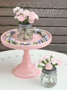use old pie tins and candle sticks and paint
