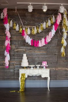 This Bridal Shower dessert table is fabulous!! So stylish! See more party ideas and share yours at CatchMyParty.com