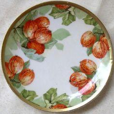ca 1900 Imperial Austria porcelain dessert plate, 'Autumn Persimmons' ... in my shop now!