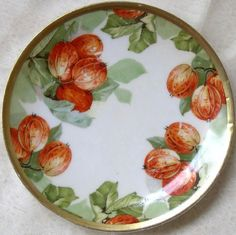 ca 1900 Imperial Austria porcelain dessert plate, 'Autumn Persimmons' ... in my shop now!
