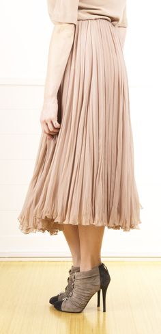 Chloe Pleated Nude Skirt