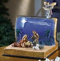 Beautiful and unique Nativity Scene in Open Bible Lighted Figurine. NWT. I pay slice!
