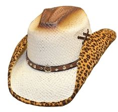 aed0e11411b Straw cowboy hat with faux leopard fur detail under the brim and decorative  band. Western