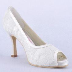 Modest Wedding Day Shoes For Bride White Blue Peep Toe Stiletto Heel Lace Honeymoon Wedding Online Women's Shoes Bridal Shoes