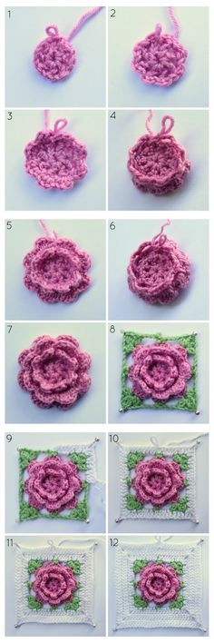 Ohje: Isoäidinneliö ruusu, peitto vauvalle | How to: crochet rose granny square baby blanket | Pitsin viemää