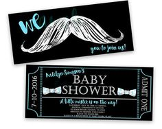 Hipster teal mustache and bow tie baby shower invitations these sweet bowtie and mustache ticket invitations are perfect for your mustache baby shower designed to look like a faux chalk style filmwisefo