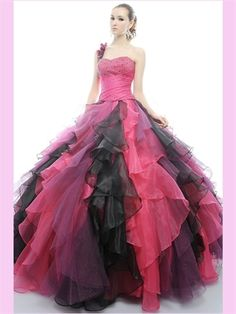 aa1551bb18 Removable Skirt Mix Color Organza One Shoulder Ball Gown Cascading Ruffles  Quincenera Dresses