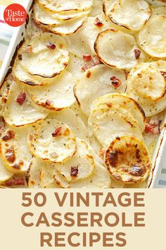 Step back in time with vintage casserole recipes. You'll find favorites like tuna casserole, turkey tetrazzini, scalloped pineapple and more. Easy Casserole Recipes, Potluck Recipes, Fall Recipes, New Recipes, Cooking Recipes, Favorite Recipes, Jamaican Recipes, Casserole Dishes