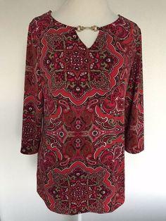 b84bd6c6981 CHARTER CLUB Top blouse shirt Long Sleeve Womens size Large Free Shipping  #1024