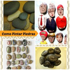 enrHedando: RECICLAR, tutoriales e ideas, decorar y pintar piedras - paintes Hope In God, Caillou, Rainbow Loom, Give Thanks, Stone Painting, Rock Art, Recycling, Projects To Try, Arts And Crafts
