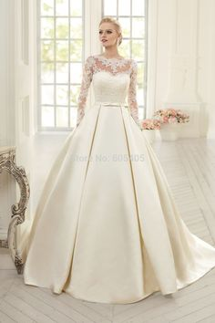 Elegante manga longa simples vestidos De casamento com Lace 2015 alta Neck Puffy Backless vestidos De Noiva Vestido De Noiva Princesa BW86 alishoppbrasil