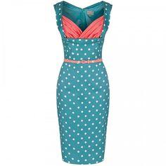 4a4bc6eb3184  Vanessa  Pastel Green Polka Wiggle Dress Hvid Kjole