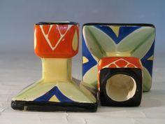 Geometric Bursley Ware Hand Painted Candlesticks Painted Candlesticks, Geometric Designs, China Cabinet, Tiles, Art Deco, Pottery, Craft Ideas, Clay, English