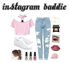 """""""Instagram baddie look"""" by zozo160901 on Polyvore featuring WithChic, Topshop, adidas Originals, '47 Brand, Lime Crime, Illamasqua, Victoria's Secret and Champion"""