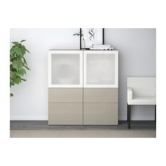 BESTÅ Storage combination w/glass doors - walnut effect light gray/Selsviken high gloss/beige frosted glass, drawer runner, soft-closing - IKEA