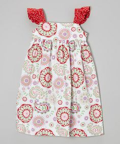 Loving this Red & White Paisley Angel-Sleeve Dress - Infant, Toddler & Girls on #zulily! #zulilyfinds