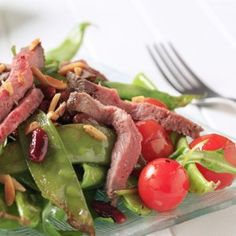Mint-pea & sweet potato salad with lamb Salad With Sweet Potato, Potato Salad, Cobb Salad, At Home Workouts, Lamb, Healthy Recipes, Dessert, Fish, Meat