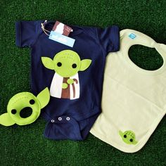 Baby Yoda Infant Bodysuit, Baby Rattle and Bib Combo $42.00 at Mi Cielo. They have every Star Wars character you can think of plus some other cute stuff like a Mr. T onesie and rattle. Adorable!!