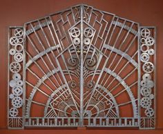 The gate was created by Rene Paul Chambellan and was used in the Chanin building in New York City, steampunk Art Nouveau, Geometric Decor, Geometric Shapes, Art And Architecture, Architecture Details, Arte Art Deco, Art Deco Stil, Design Museum, Art Deco Design