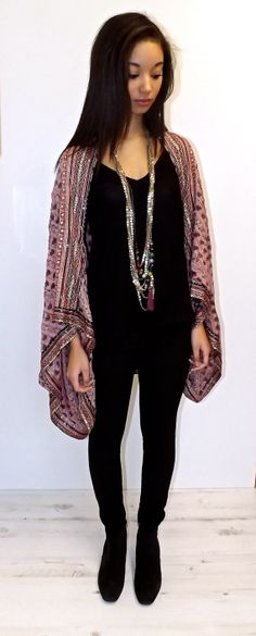 Pink Pure Silk beaded Kimono jacket / Shrug/ cover up by Bibiluxe, £100.00