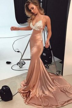 mermaid, long ,prom dress, 2018 prom dress, gorgeous, straps ,pink ,mermaid, long, evening dress,2018 Party Dresses,Women Dresses