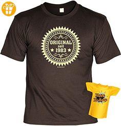 Geburtstags-Jahrgangs-Fun-Shirt-Set inkl. Mini-Shirt/Flaschendeko: Original seit 1983 - geniales Geschenk (*Partner-Link)