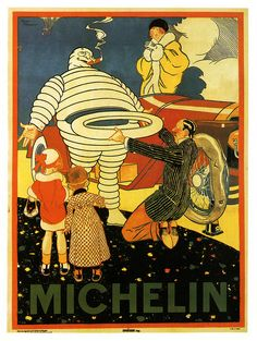 Economy: New Advertisements that led to people buying more things. Mr. Michelin To The Rescue Poster by Rene Vincent.