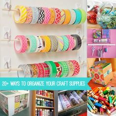 Here are over 20 great ways to organize craft supplies. These come in handy for cleaning up your craft room or studio. Lots of budget friendly options!