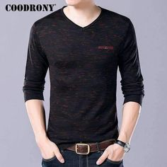 Coodrony Soft Cashmere Sweaters Autumn Winter Warm Wool Sweater Men Business Casual V-Neck
