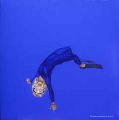 "OLYMPIC GAMES 2012, Aug 4th: Women's Trampoline  pic: ""CALLIGRAMME DE GRENOUILLE 30""  - Calligram of frog 30 - oil on canvas by Pascal Lecocq, The Painter of Blue ®, 10""x10"" 26x26cm, 2008, lec773, available. © www.pascal-lecocq.com."