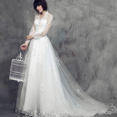Princess Long Sleeve Bridal Wedding Gown