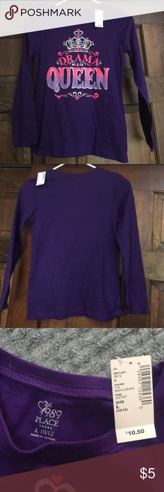 """Long sleeve T Girls NWT purple """"Drama Queen 👸🏻 """" tee Children's Place Shirts & Tops Tees - Long Sleeve"""