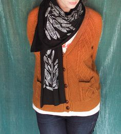 Jersey Scarf with Feather Print   Women's Bags & Accessories   Made by Michelle Brusegaard   Scoutmob Shoppe   Product Detail