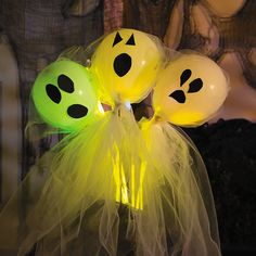 DIY Halloween Glowing Porch Ghosts - OrientalTrading.com  Spook your party guests and trick-or-treaters with this hauntingly fun DIY Halloween decoration! Enjoy hours of light with our glowsticks! Your porch will glow with scary delight!