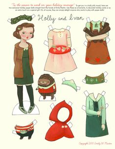Holly and Ivan Paper Doll Pattern from Emily Martin Copyright © 2010 Personal Use ONLY