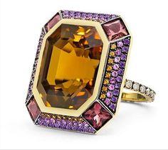 LAUREN ADRIANA | Ziggurat Ring - Gold, citrine, rhodolite, spessartite, sapphires, amethyst, diamonds | {ʝυℓιє'ѕ đιåмσиđѕ&ρєåɾℓѕ}