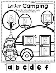 Trace & Match the Letters in the Campground. - Pre-k Camping Worksheets